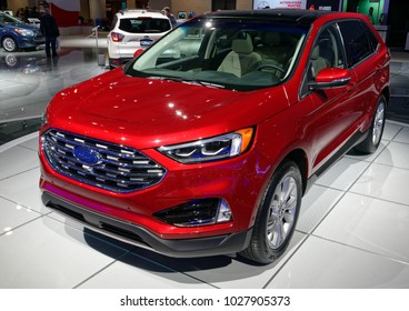 TORONTO-FEBRUARY 15: at the 2018 Canadian International AutoShow,  The all new 2018 Ford Edge Titanium has 2.0L EcoBoost or 3.5L Ti-VCT V6 Engine and All-Wheel Drive