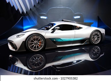TORONTO-FEBRUARY 15: at the 2018 Canadian International AutoShow, Mercedes AMG Project One hypercar has mid mounted V6, 1,000 hp, top speed of 350 km/h and acceleration 0-200km/h in less then 6 sec