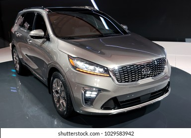TORONTO-FEBRUARY 15: at the 2018 Canadian International AutoShow, the all new KIA Sorento SUV with 3.3-liter V6 with and new 8-speed automatic transmission.