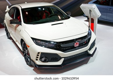 TORONTO-FEBRUARY 15: at the 2018 Canadian International AutoShow, the all new 5-door hatchback Honda Civic Type R with 4-cyl, 2.0-liter turbocharged i-VTEC with 306hp