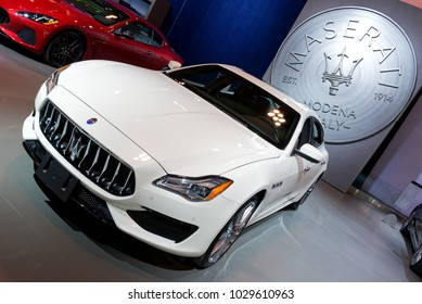 TORONTO-FEBRUARY 15: at the 2018 Canadian International AutoShow,  Maserati Quattroporte GTS with V8 engine, 523hp and max speed of 310km/h