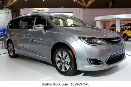 TORONTO-FEBRUARY 15: at the 2018 Canadian International AutoShow,  2018 Chrysler Pacifica Hybrid minivan uses a 3.6-litre V6 engine and electric motor with 50km fuel-free electric driving