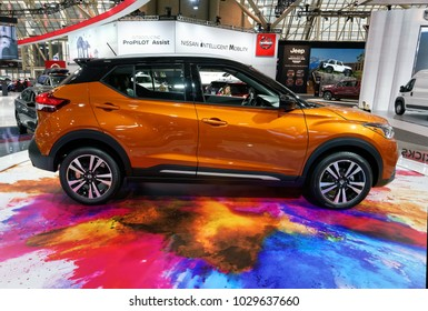 TORONTO-FEBRUARY 15: at the 2018 Canadian International AutoShow,  the all new Nissan Kicks crossover with 1.6-litre, 4-cyl engine and  125hp