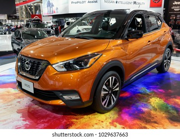 TORONTO-FEBRUARY 15: at the 2018 Canadian International AutoShow,  the all new Nissan Kicks crossover with 1.6-litre, 4-cyl engine and 125hp and Continuous Variable Valve Timing Control System (CVTCS)