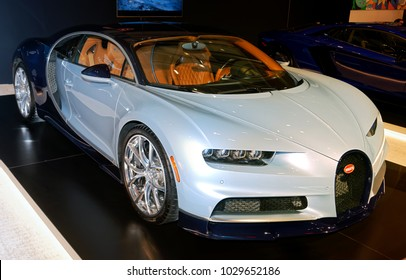 TORONTO-FEBRUARY 15: at the 2018 Canadian International AutoShow,  $3.4 million Bugatti Chiron with the engine of 1500hp accelerates from 0-62 miles in less than 2.5 seconds