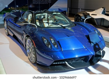 TORONTO-FEBRUARY 15: at the 2018 Canadian International AutoShow,  Pagani Huayra Roadster has Mercedes-AMG V-12 engine with 754-hp. Only 100 will be built and sell for $2.4 million each.