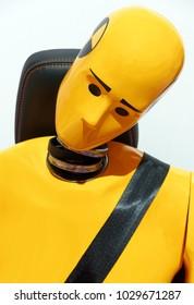 TORONTO-FEBRUARY 15: at the 2018 Canadian International AutoShow,  yellow crash test dummy