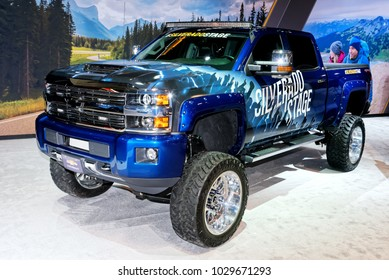 TORONTO-FEBRUARY 15: at the 2018 Canadian International AutoShow,  All new 2019 Chevrolet Silverado got 5.3 litre and 6.2 litre V8s and a 3.0 litre turbo diesel with all new 10speed automatic.