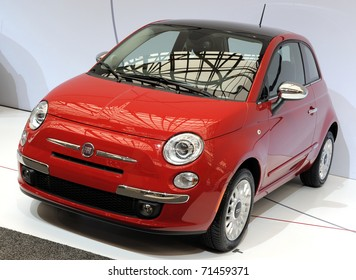 TORONTO-FEBRUARY 17: Fiat 500 showcased at the 2011 Canadian International Auto Show on February 17, 2011 in Toronto