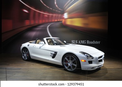 TORONTO-FEBRUARY 22: A Mercedes-Benz SLS AMG Roadster during the 40th International Auto Show on February 22, 2013 in Toronto, Canada.