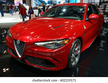 TORONTO-FEBRUARY 25: at the 2017 Canadian International AutoShow the 2017 Alfa Romeo Giulia equipped with a 505-horsepower, turbocharged 6-cylinder engine recorded the fastest lap at Nürburgring