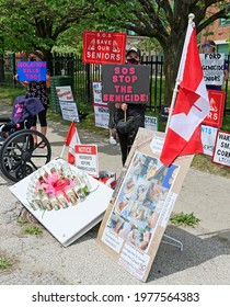 TORONTO-May 21,2021: Activists from Warrior Advocacy Crusade protest in Toronto against negligence and abuse of seniors in old age homes and long-term care homes.