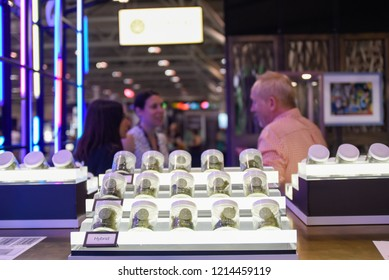 TORONTO-MAY 27: Customers viewing cannabis products  during the cannabis expo on May 27 2018 in Toronto,Canada