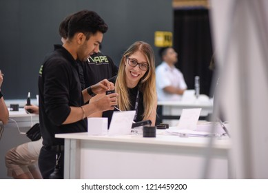 TORONTO-MAY 27: Customers viewing vapes during the cannabis expo on May 27 2018 in Toronto,Canada