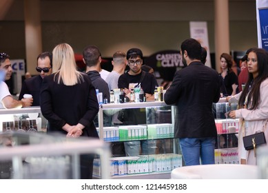 TORONTO-MAY 27: People seeing cannabis oil products during the cannabis expo on May 27 2018 in Toronto,Canada
