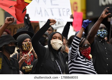 TORONTO-MAY 30:People chanting slogans during a rally to protest the death of a Black woman with mental illness, who fell from her balcony in police presence on May 30,2020 in Toronto,Canada