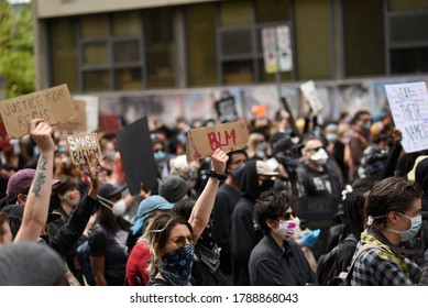 TORONTO-MAY 30:People gathered on the streets with signs during a rally to protest the death of a Black woman with mental illness, who died in police presence on May 30,2020 in Toronto,Canada
