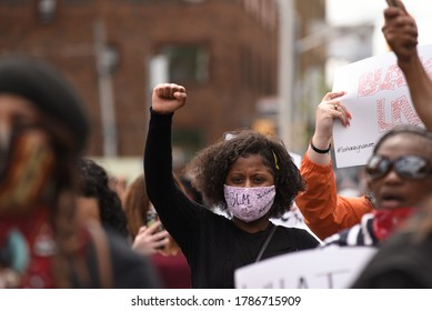 TORONTO-MAY 30:People showing solidarity during a rally to protest the death of a Black woman with mental illness, who died in police presence on May 30,2020 in Toronto,Canada