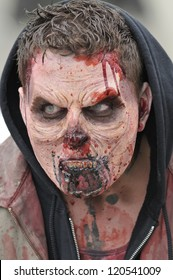 TORONTO-OCTOBER 20: A participant  with a scary look during the Halloween parade on October 20, 2012 in Toronto, Canada.