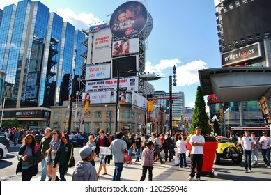 TORONTO,ON - JUNE 07: Yonge-Dunda Square on June 07, 2010 in Toronto, Canada. Yonge- Dunda Square is a commercial, and public square, hosts many events,and it is one of Toronto's main attraction.