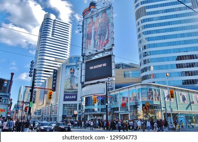 TORONTO,ON - JUNE 07: Yonge-Dunda Square on June 07, 2010 in Toronto, Canada. Yonge- Dunda Square is a commercial, and public square, hosts many events,and it is one of Toronto's main attraction