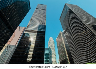 Toronto,Ontario,Canada, July 24,2019, magnificent gorgeous  view on high rise business buildings, condos in downtown area, Toronto city