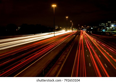 Toronto's 401 Highway or King's Highway photographed at night.