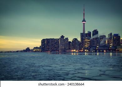Toronto's Skyline III. One of the best views of Toronto from Cherry Street, Ontario, Canada.