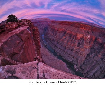 Toroweap overlook of Grand Canyon National Park, North Ridge, remote place. Sunset