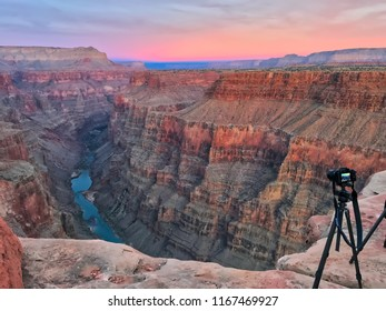 Toroweap overlook of Grand Canyon National Park, North Ridge, remote place. Sunrise.  Tripod on the edge