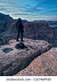 Toroweap overlook of Grand Canyon National Park, North Ridge, remote place. Sunrise. Man on the edge