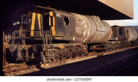 Torpedo liquid iron ladles on a steelworks. 300 tonne load.