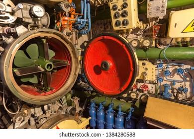 the torpedo room on a combat submarine torpedo launching tube, military