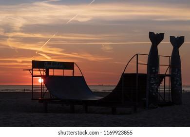 Torpedo skatepark sunset at the beach