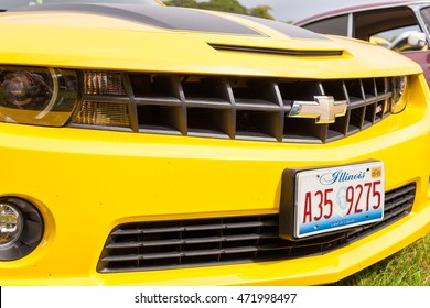 TORPOINT CORNWALL ENGLAND - 7 AUGUST, 2016- Close up Yellow Chevrolet Camaro as Transformer Bumblebee at the American and Custom Car Show at Mount Edgcumbe House in Cornwall UK. Editorial Use Only