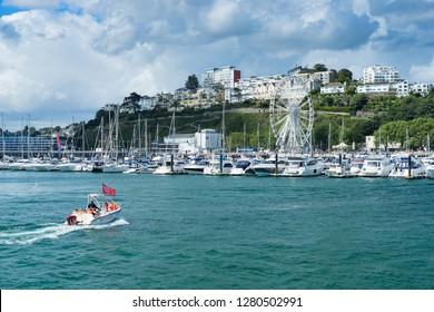 TORQUAY, DEVON ENGLAND - 31st July 2017: The Marina at Torquay a popular holiday destination in Devon England UK