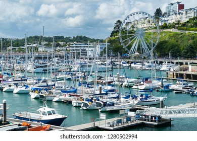 TORQUAY, DEVON ENGLAND - 31st July 2017: The Marina at Torquay a popular holiday destination in Devon England UK
