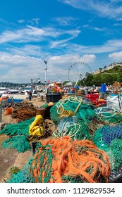 Torquay Devon England July 06, 2018 Fishing paraphernalia on the harbourside at Torquay, on the English Riviera