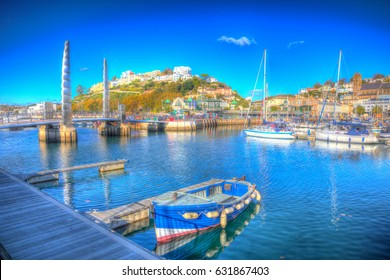 Torquay Devon harbour marina with boats on beautiful day on the English Riviera in colourful HDR