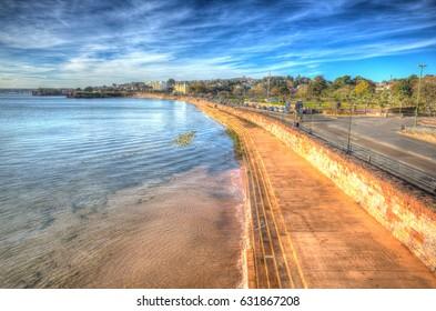Torquay Devon promenade on the English Riviera in colourful HDR