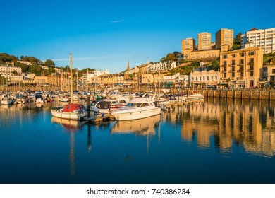 TORQUAY, DEVON UK - OCTOBER 14, 2017: View of the harbor in Torquay. Torquay, a seaside town in Devon, also known as English Riviera, is a fashionable holiday resort and a popular tourist destination