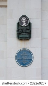 TORQUAY, ENGLAND - April 30, 2015: Agatha Christie Mile on the Wall of the Pavillion in Torquay, England. The Pavillion was Opened in 1912