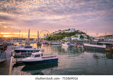 Torquay harbour at sunset, Devon, England