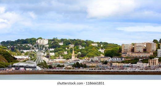 Torquay, UK, 2017.  Panoramic view of Torquay Promenade in South Devon it is a popular tourist destination especially in the summer months