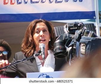 TORRANCE, CALIFORNIA - JULY 3, 2017: U.S. Senator Kamala Harris addresses the crowd at a rally to stop the GOP Trumpcare bill held at Harbor-UCLA Medical Center, Los Angeles County.