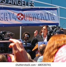 TORRANCE, CALIFORNIA - JULY 3, 2017: U.S. Senator Kamala Harris gives the keynote address at a rally to stop the GOP Trumpcare bill held at Harbor-UCLA Medical Center, Los Angeles County.