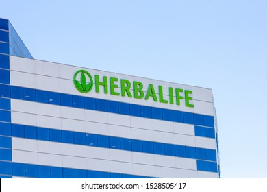 Torrance, California/United States - 10/11/2019: A building front sign for the Herbalife headquarters in Los Angeles