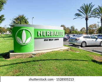 Torrance, California/United States - 10/11/2019: A street side sign for the Herbalife Headquarters in Los Angeles