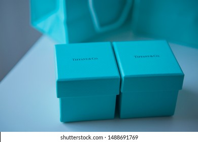 Torrance, California/USA - August 26 2019: Tiffany & Co Jewelry boxes and packaging high end blue and teal