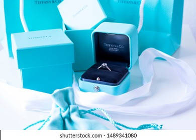 Torrance, California/USA - August 27 2019: Tiffany & Co Jewelry engagement wedding luxury brand blue teal green